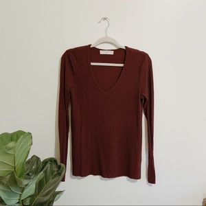 Urban Outfitters Maroon Thermal Top